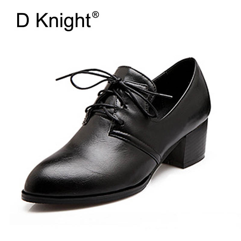 New 2018 Vintage Square Heel Lace Up Women Pumps Ladies Casual High Heels Shoes Plus Size 34-47 Women Low Heeled Oxfords allbitefo 2018 new spring horsehair thick heel lace up women pumps low heeled platform casual women shoes office high heel shoes