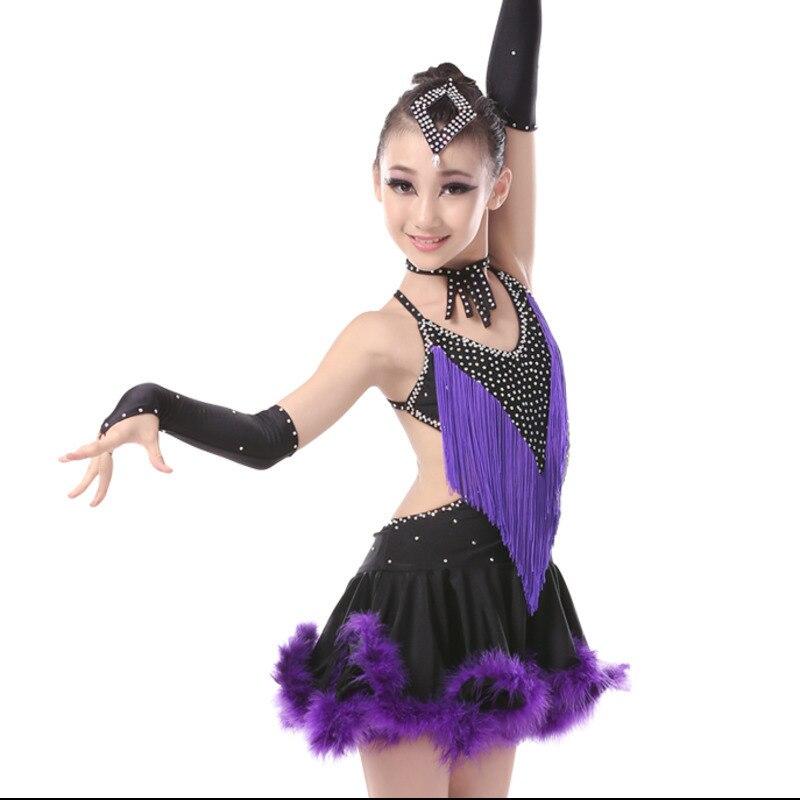 Child Kid Children Professional Latin Dance Dress for Girls Modern Waltz Tango Cha Cha Kids Ballroom Competition Dresses Feather
