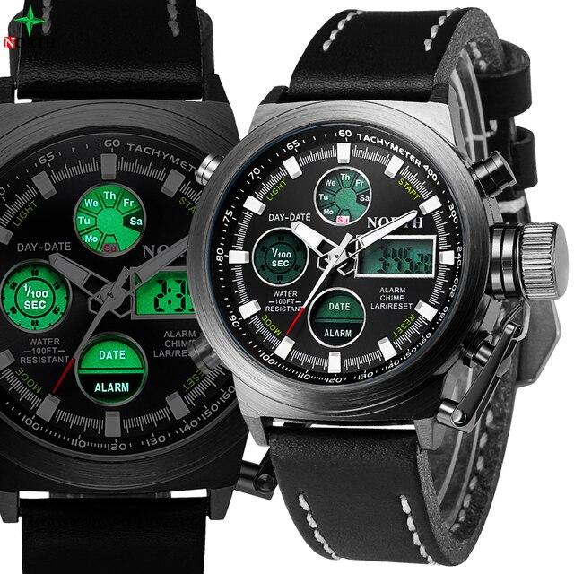 b47a33c44fa NORTE Homens Esporte Relógio Militar À Prova D  Água Alarme Analógico  Digital LED relógio de