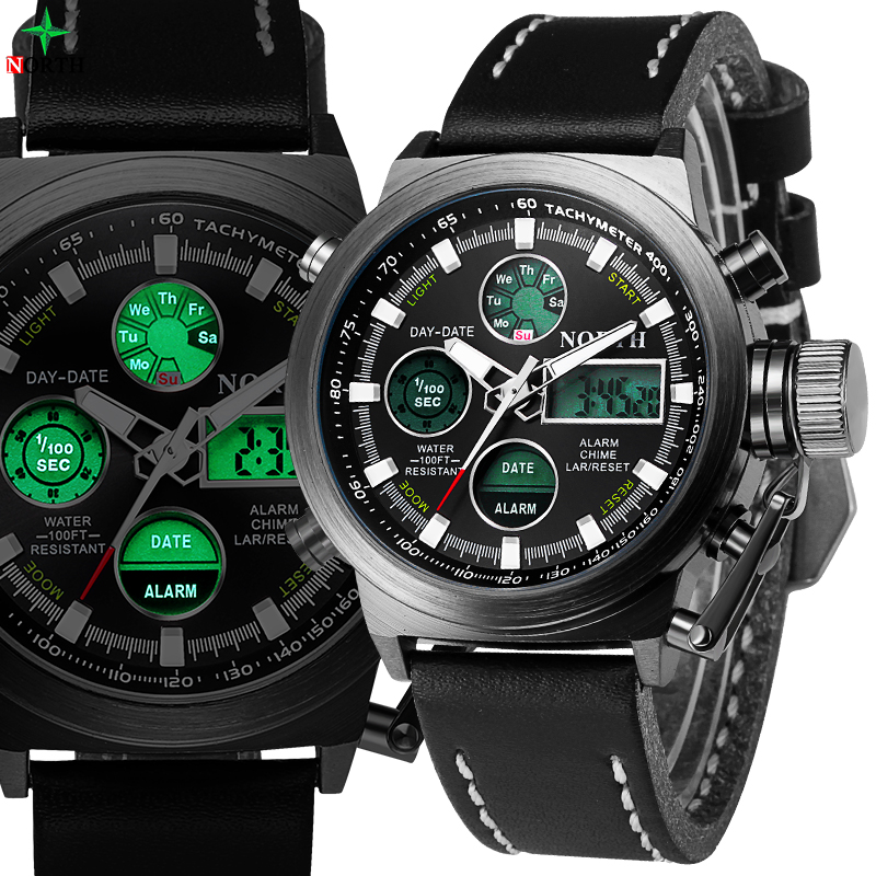 NORTH Men Sport Watch Waterproof Military LED Digital Wristwatch Top Brand Analog Alarm Fashion Casual Quartz Sport Watch Men