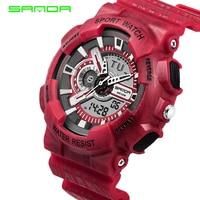 SANDA Alarm Waterproof Mens Watches Top Brand Luxury S SHOCK Digital Led Sports Watch Men Clock