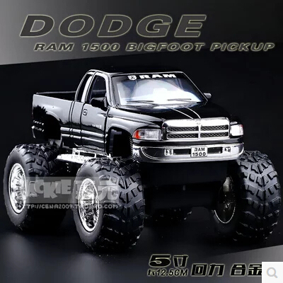Dodge RAM 1500 Big foot pickup KINSMART Toy kids pull back  gift SUV truck alloy car model 1/44 Modified cars limit