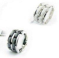 Hohe Qualität Zweireihig Weiß/Schwarz Keramik Silber Farbe 316L Edelstahl Ring Für Männer & Frauen
