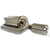 Silenciador para sistema de escape  acessórios automotivos 51mm-89mm  tubo universal  de aço inoxidável  tipo s  pressão traseira externa silenciador de escapamento