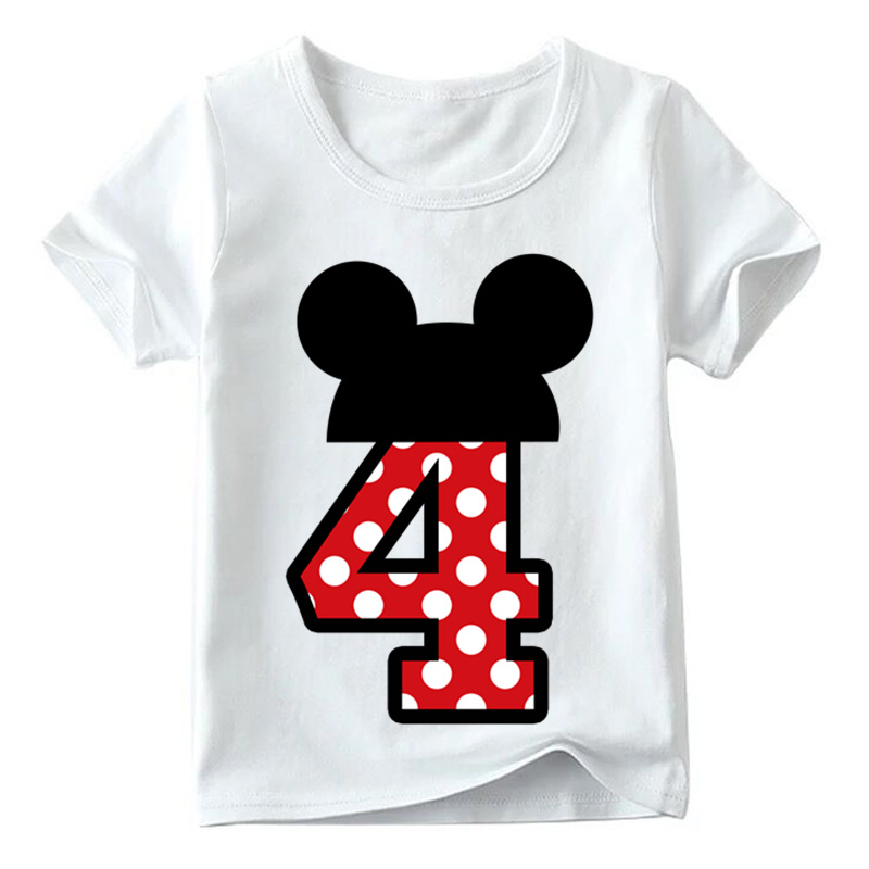 Baby Boys/Girls Happy Birthday Letter Bow Cute Print Clothes Children Funny T shirt,Kids Number 1-9 Birthday Present,HKP2416 19