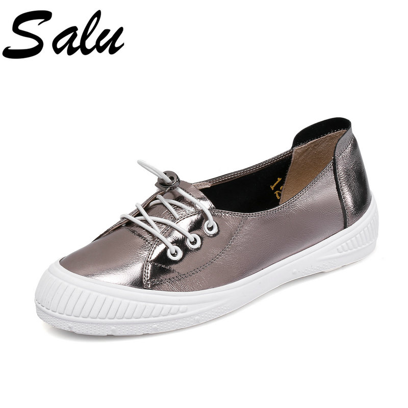 salu Women Pumps Casual Leather Shallow Women Shoes lace up platform Heel round Toe Ladies Pumps