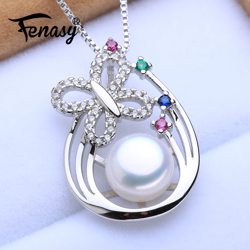 FENASY Natural Freshwater Pearl Pendant Necklace For Women Romantic Vintage 925 Sterling Silver Green Purple Stones Ruby PendantFENASY Natural Freshwater Pearl Pendant Necklace For Women Romantic Vintage 925 Sterling Silver Green Purple Stones Ruby Pendant