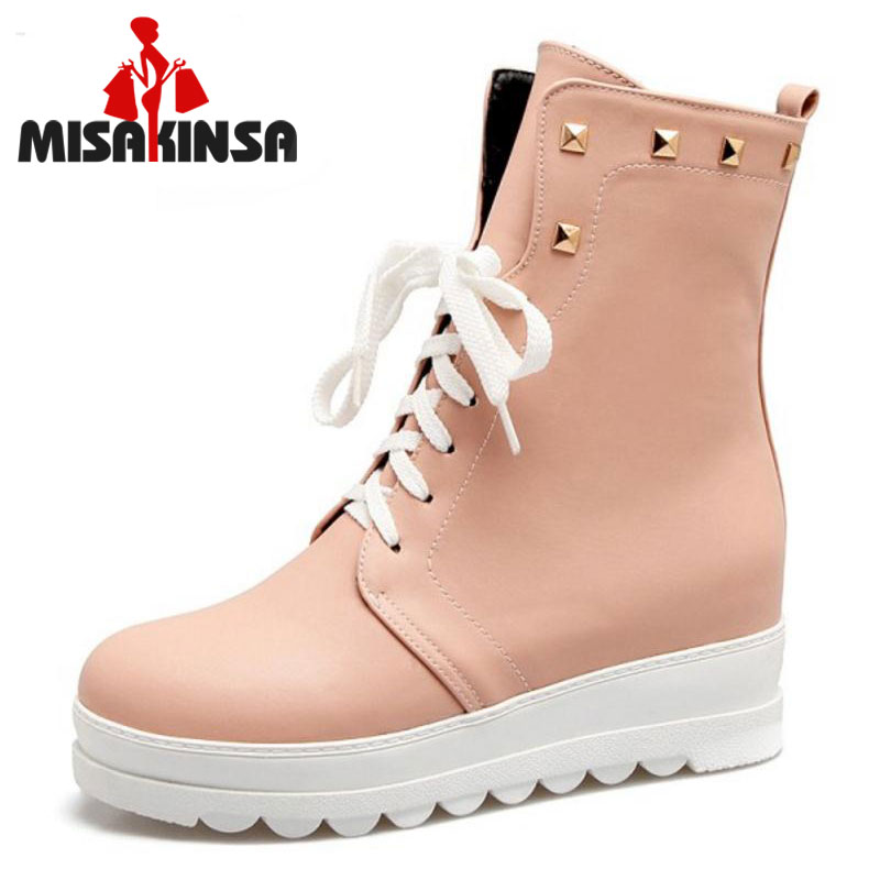 MISAKINSA Size 33-43 Office Lady High Heel Boots Women Platform Rivets Height Increasing Boot Fashion Women Warm Dress Footwears