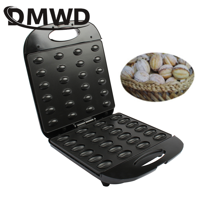 DMWD Electric Walnut Cake Maker Automatic Mini Nut Waffle Bread Baking Machine Bakeware Sandwich Iron Toaster Breakfast Pan Oven