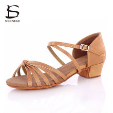 Ballroom Latin Dance Shoes Kids Girl Hot Selling Ballroom Dancing Shoes For Women Ladies Knot Tango Salsa Shoes Low Heeled 3.5cm
