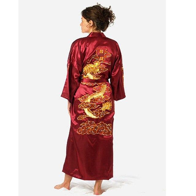Бургундии Китайских женщин Шелковый Атлас Одеяние Вышивка Кимоно Ванна Платье Дракон Sml XL XXL XXXL NS0071