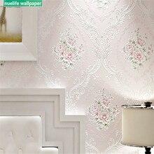 Pastoral pink rose flower Damascus pattern non-woven wallpaper