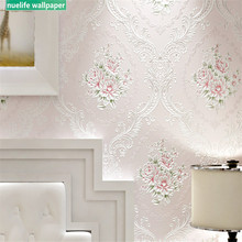 Pastoral pink rose flower Damascus pattern non-woven wallpaper wedding room livi