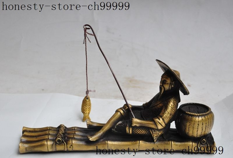 Crafts statue chinese bronze Fisherman old people seat Bamboo boat ship Fishing fish statue halloween
