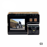 2019 Latest C3 2CH Motorcycle DVR Dash Cam HD Front & Rear View Dual Lens Waterproof Motorcycle Camera Black Recorder Box