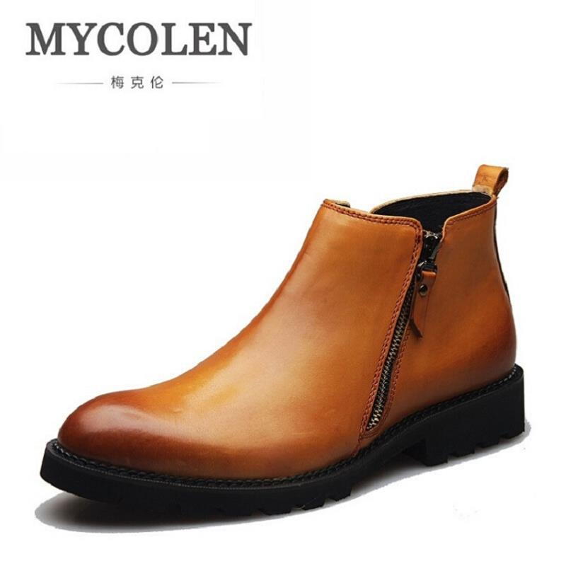 MYCOLEN Brand Designer Men Winter Shoes Fashion Brown New Flats Man Ankle Boots Men Casual Leather Shoes for Wedding Party cbjsho brand men shoes 2017 new genuine leather moccasins comfortable men loafers luxury men s flats men casual shoes