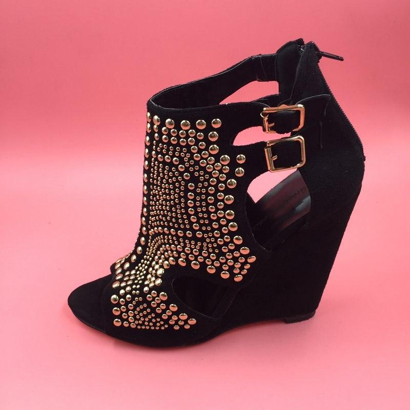 Hauts Rivets Sapato Images Compensées Côté Ouvert Femmes Nouvelle Talons Out Sandales À Noir Bout Feminino Réelles Creux aqpnB44x