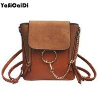 YASICAIDI Double Zipper Scrubs Chain Backpack High Quality PU Leather Women Backpack Retro Ring School Bags
