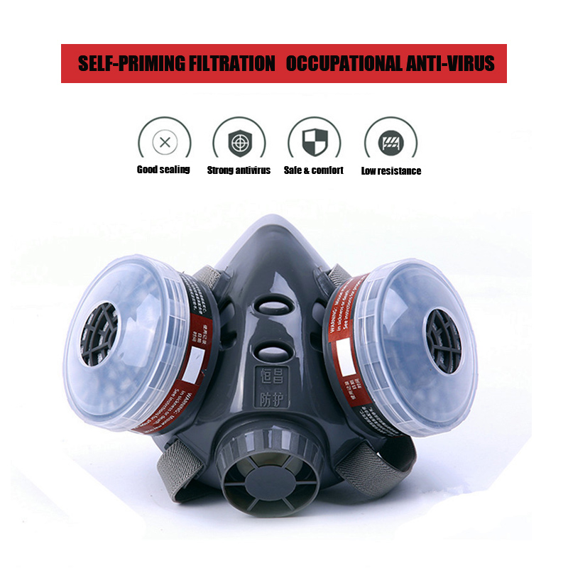 2IN1 Half Face Gas Mask Dust Mask With Anti-fog Glasses Activated Carbon Filter Breathing Respirators for Painting Spray Welding2IN1 Half Face Gas Mask Dust Mask With Anti-fog Glasses Activated Carbon Filter Breathing Respirators for Painting Spray Welding