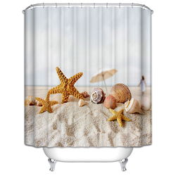 Customize 3D Shower Curtains Beach Shells Star Waves Scenery Pattern Waterproof Thicken Washable Bath Curtains Bathroom Products