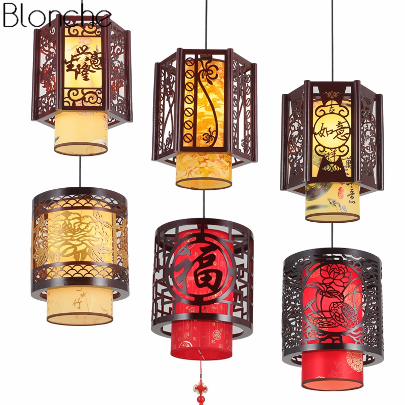 Chinese Style Wood Vintage Pendant Lights for Living Room Led Retro Sheepskin Hanging Lamp Home Decor Fixtures Bamboo Luminaire