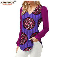 2019 spring&summer african anka print blouse for women AFRIPRIDE full sleeve v-neck casual women blouse 100% cotton A1822002 fashionable slimming geometric print v neck blouse for women