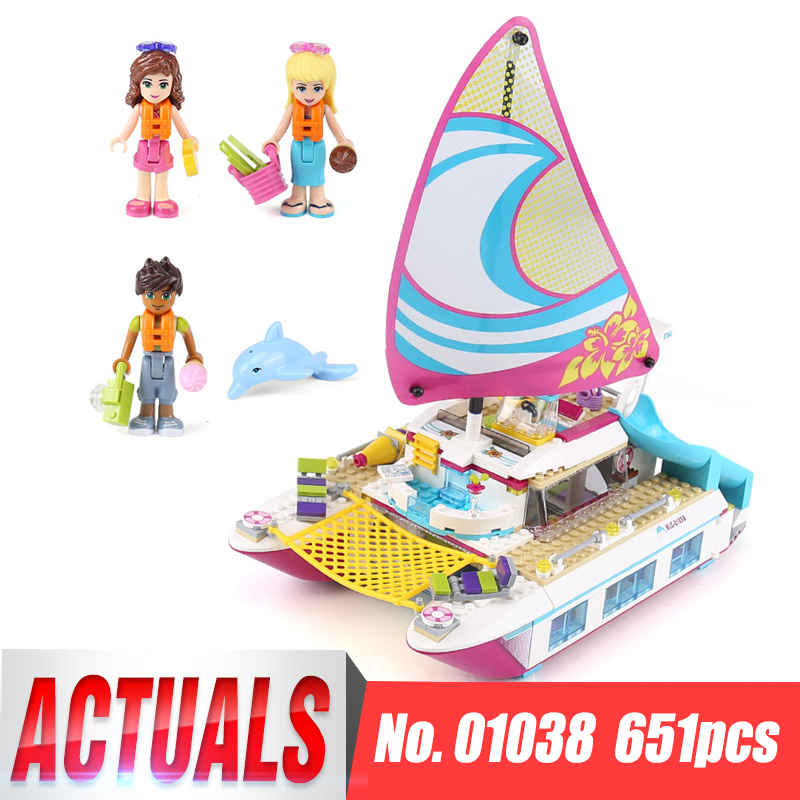 Lepin 01038 Friends Girl Series Building Blocks toys Sunshine Catamaran kids Bricks toy girl gifts Compatible Legoing 41317 lepin 01040 friends girl series 514pcs building blocks toys snow resort chalet kids bricks toy girl gifts lepin bricks 41323