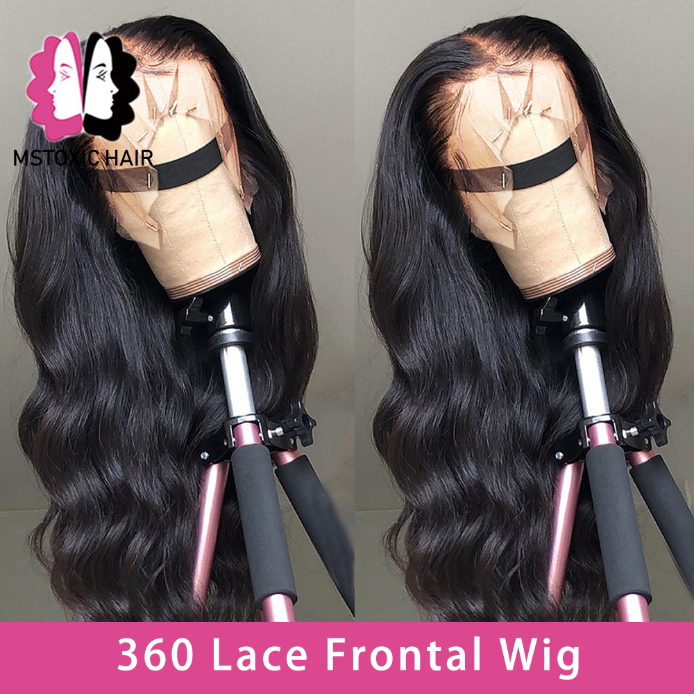 Mstoxic Body Wave 360 Lace Frontal Wig With Baby Hair Brazilian Remy Lace Frontal Human Hair Wigs For Women Bleached Knots