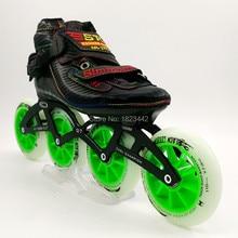 De fibra de carbono profesional zapatos de patinaje en línea de los niños especiales juego de carreras de zapatos 4 ruedas patines Patins Roller