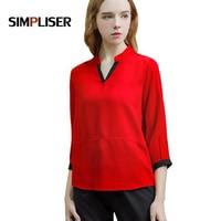 SIMPLISER Sexy V neck Women Blouses Red Chiffon Shirts For Ladies Wear To Work Plus Size Femme Blusas M 5XL Women's Tops