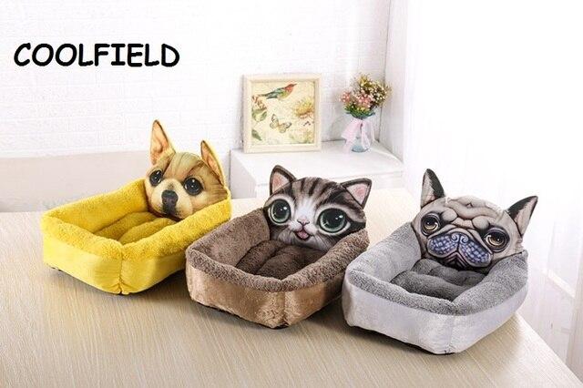 € 9.83 32% de réduction|3D réaliste motif Pet lit doux chenil animal canapé  coussin chat tapis dessin animé chien maison petit chien tapis de couchage  ...