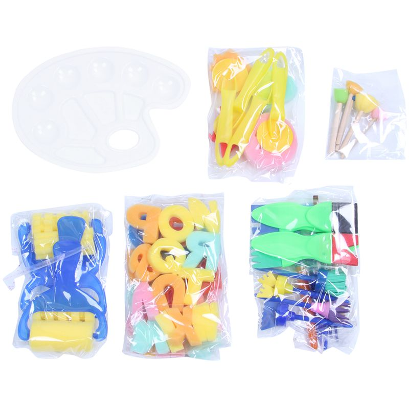 53 Pieces Sponge Paint Brushes Set Kids Early Learning Drawing Tools Sponge Brushes + Palette Paint Brushes Set for Art Crafts