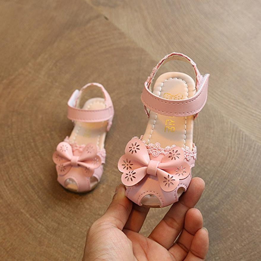TELOTUNY Children Girls Floral Bowknot Sandals Sneaker Lace Pricness Casual Single Shoes V11556