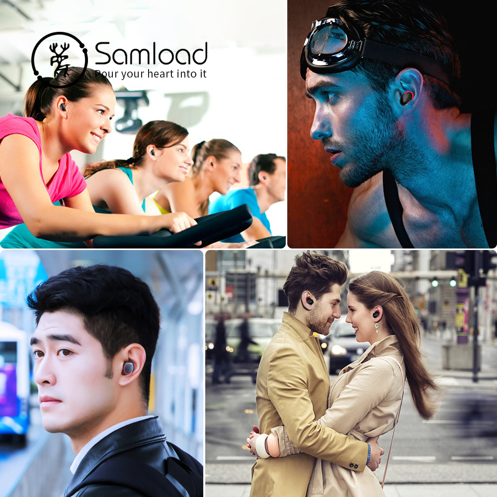 Samload Wireless Stereo Headphones Bluetooth 5.0 in ear Earbuds HIFI Sound with 2000 mAh Powerbank charging Box For  IOS Android