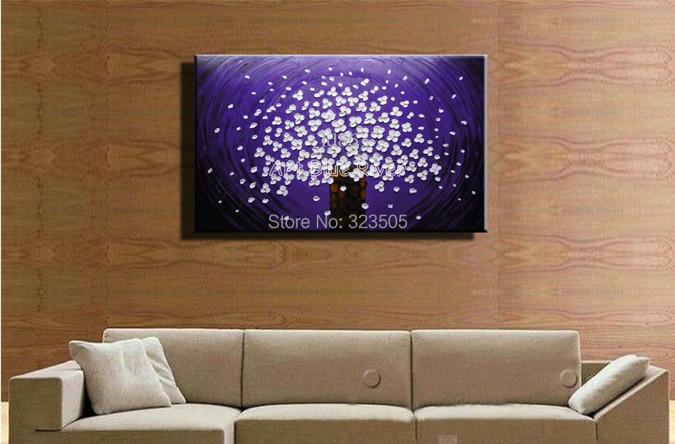 Abstract font b Knife b font paint modern wall art canvas handmade Purple flower picture oil
