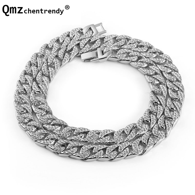 Hip Hop 10 14mm 75CM Stainless Steel Curb Cuban Chain Necklace Bracelet  Boys Mens Rhinestone Dragon CZ Clasp ... cfd6aa794903