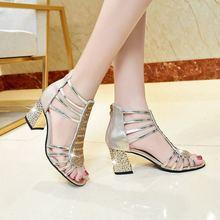 купить Sandals women's new summer rhinestone open toe zipper shoes high heel thick with smooth fashion shoes дешево