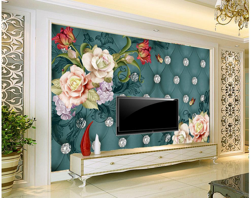 Flower background wall painting  photo wall murals wallpaper Home Decoration living 3d wallpaper diy beads painting flower cross stitch wall decoration