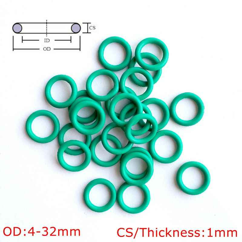 10 pcs Green Viton FKM Fluorine Rubber O Ring O-Ring Oil Sealing Gasket CS 1mm OD 4-32mm