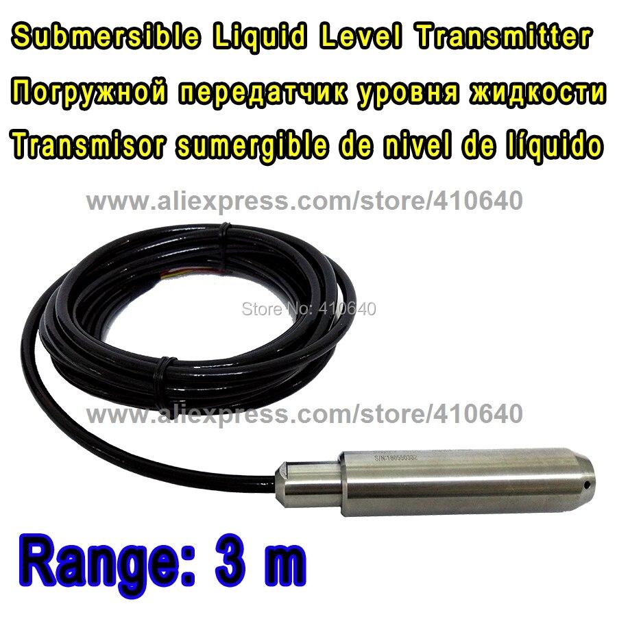 Escala de 3 medidores com cabo de 4m nível líquido submersível transmissor nível transdutor tipo de entrada sensor de nível outra escala é ok
