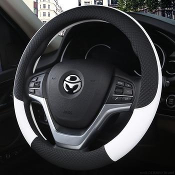 100 ٪ DERMAY العلامة التجارية جلدية العالمي تغطية عجلة القيادة سيارة 37CM-38CM سيارة التصميم رياضة السيارات عجلة القيادة يغطي مكافحة زلة 2