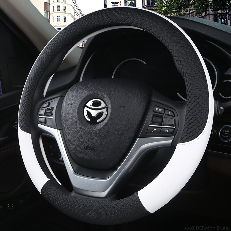 100% DERMAY Brand Leather Universal Car Steering-wheel Cover 37CM-38CM Car-styling Sport Auto Steering Wheel Covers Anti-Slip 1