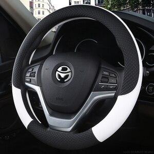 Image 2 - 100% DERMAY marka deri evrensel araba direksiyon JANT KAPAĞI 37CM 38CM araba şekillendirici spor otomobil direksiyon JANT KAPAĞI s kaymaz
