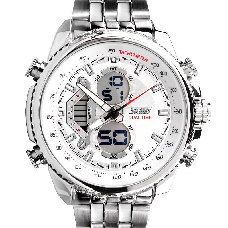 SKMEI Men Sport Digital Fashion Casual Watches Stain Steel Silver Wristwatch Led Water resistant Quartz Watch Relogio Masculino 6