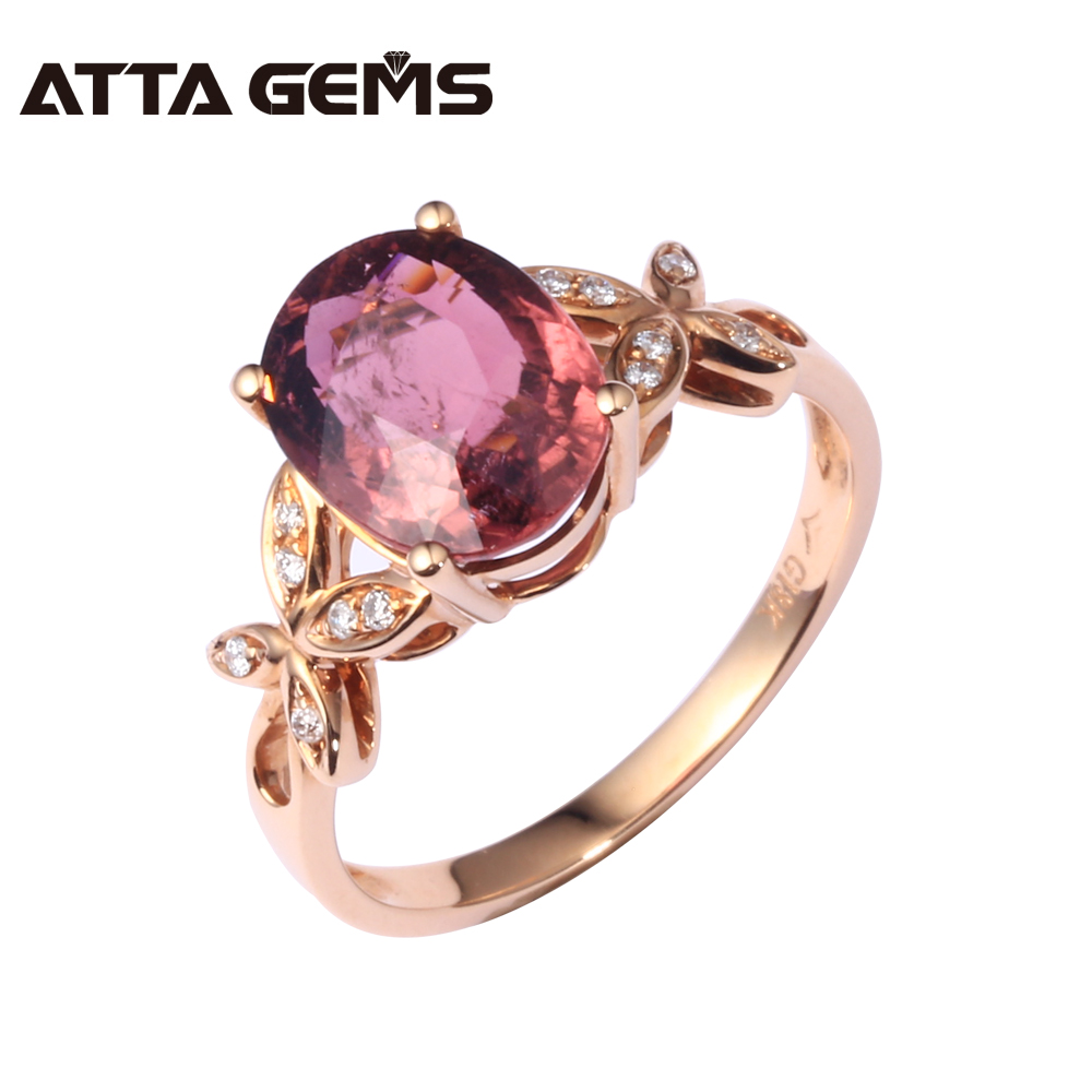 Natural Red Tourmaline Real 18K Gold Ring Red Tourmaline Rose Gold Women Wedding Diamond Ring Butterfly Vivid Design