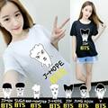 KPOP BTS Bangtan Meninos Da Moda Coreana K-POP Álbum de 2016 Jovens Para Sempre Q Boneca Dos Desenhos Animados Camiseta de Algodão T Shirts T-shirt