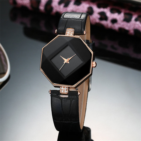 high-quality 2017 new 5color jewelry watch fashion gift table women Watches Jewel gem cut black geometry quartz wristwatches Lahore