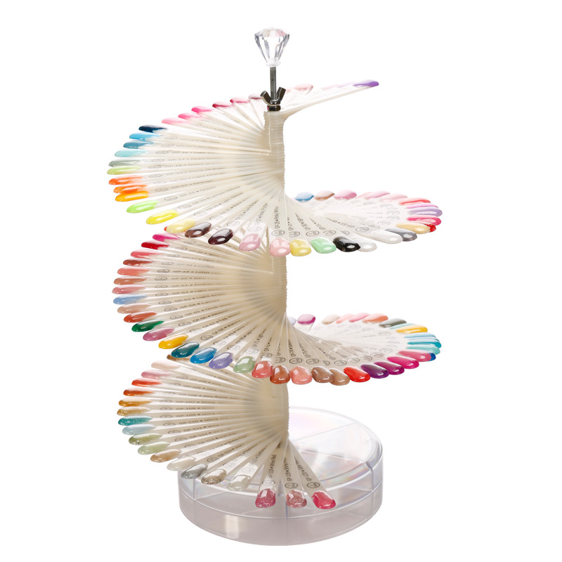 Modelones 120Pcs Nature Color Spiral Fan Shaped Nail Display Practice Painting Gel Polish Card Stand Rack Nail Art Tools spiral tie dye cloth art