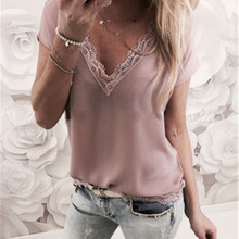 Women Blouse Tops Summer Top Casual Loose Short Sleeve Solid