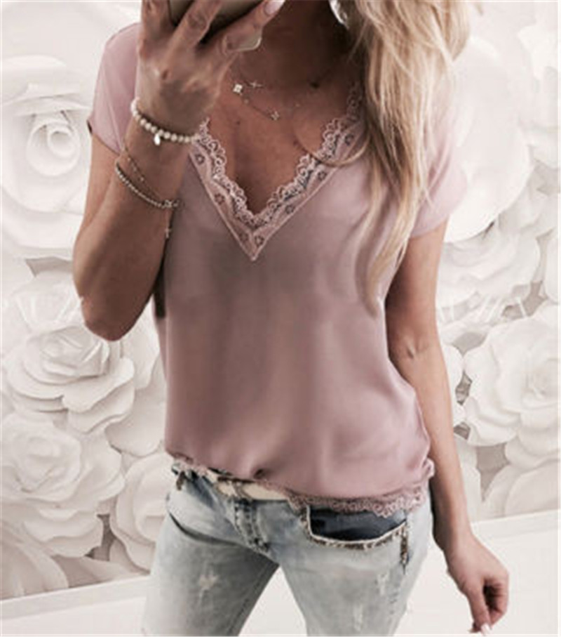 Women Blouse Tops Summer Top Casual Loose Short Sleeve Solid Lace V-neck Blouses Female Shirts Vest Blusa Plus Size W3